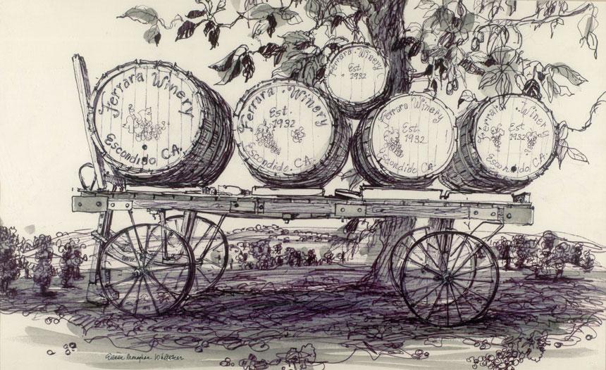 """Ferrara Winery, Escondido"" 1983 © Eileen Monaghan Whitaker N.A. 14x22 inches Watercolor"