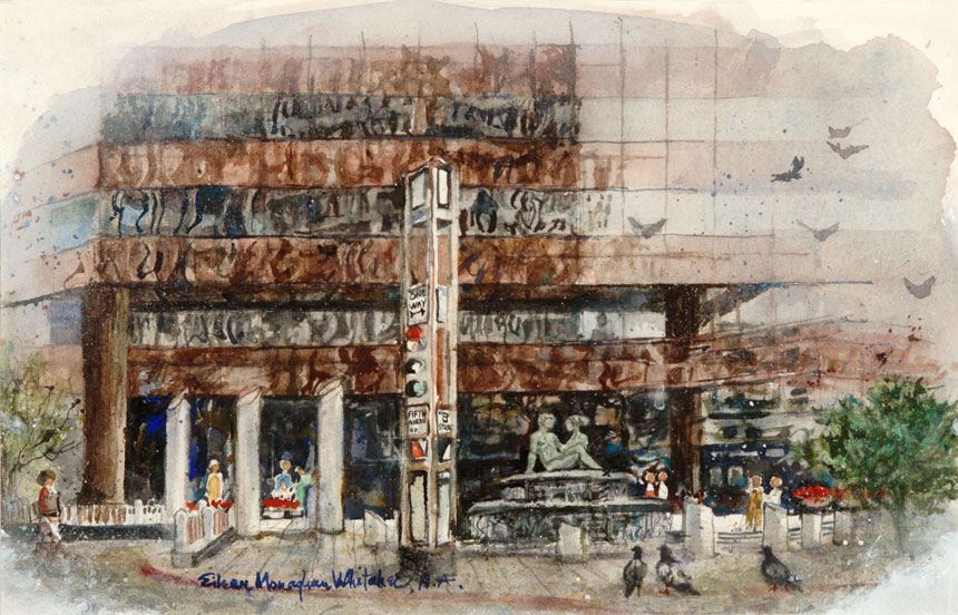 """""""First Interstate Plaza - Downtown San Diego"""" © Eileen Monaghan Whitaker Watercolor"""