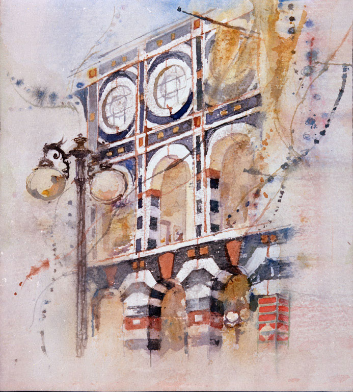 """""""Horton Plaza"""" © Eileen Monaghan Whitaker 9x11 inches Watercolor"""