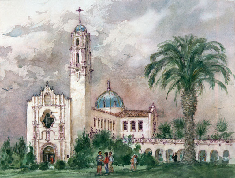 """Immaculata, University of San Diego"" 1983 © Eileen Monaghan Whitaker 22x30 inches Watercolor"