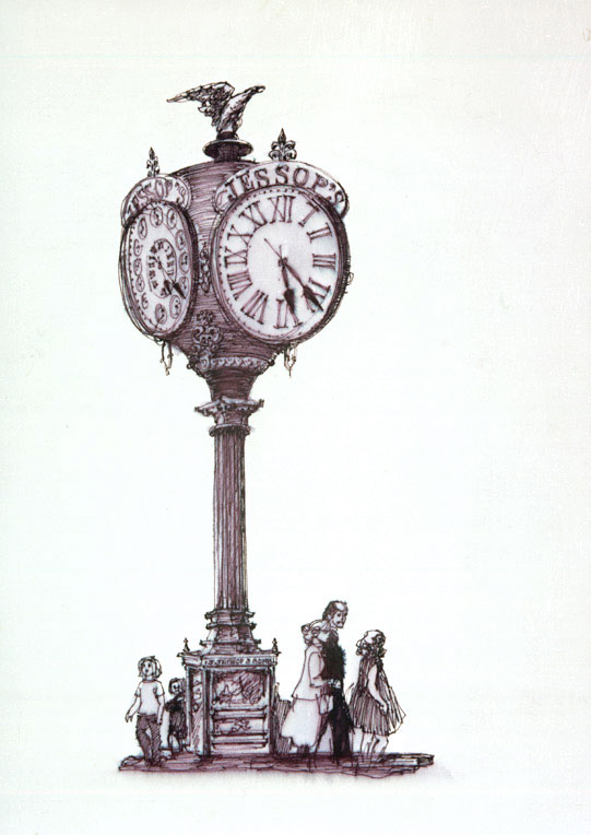 """""""Jessop's Clock"""" 1983 © Eileen Monaghan Whitaker N.A. 20x14 inches Pen and Ink"""
