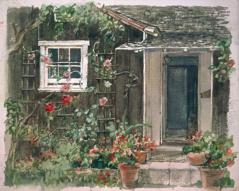 """""""La Jolla Cottage"""" © Eileen Monaghan Whitaker Watercolor"""