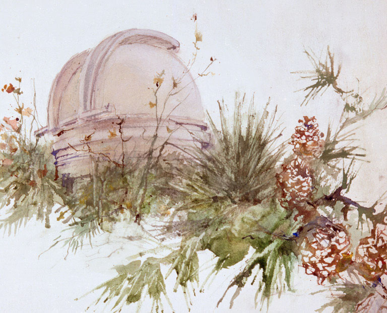 """Mount Palomar Observatory"" © Eileen Monaghan Whitaker 12x16 inches Watercolor"