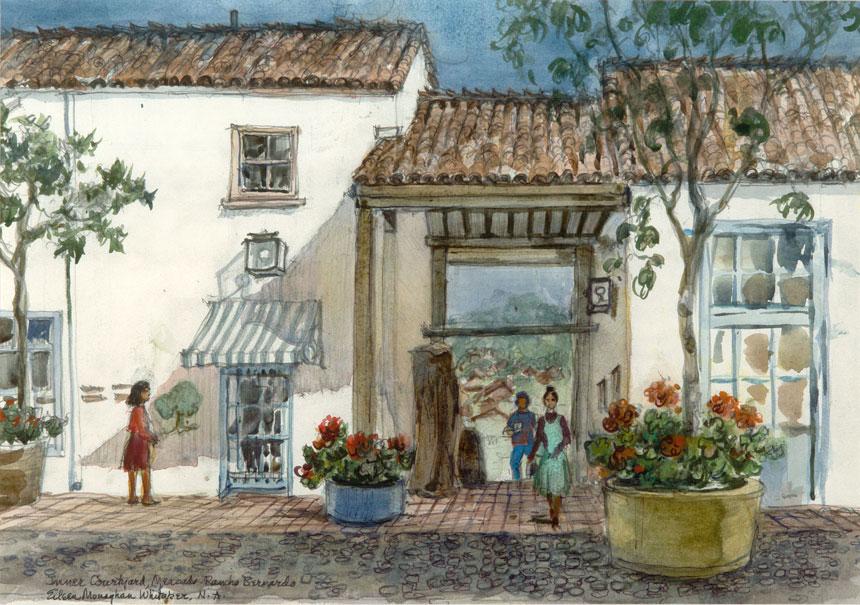 """""""Old Mercado in Rancho Bernardo"""" © Eileen Monaghan Whitaker Watercolor"""