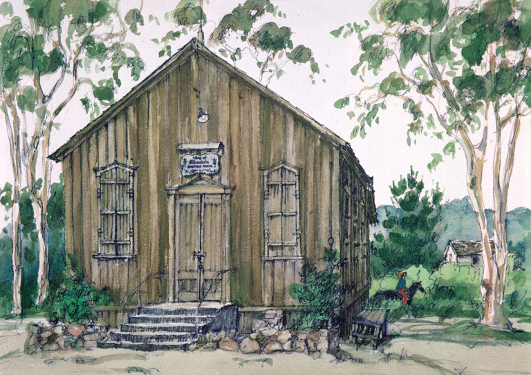 """""""Olivenhain Meeting House"""" 1983 © Eileen Monaghan Whitaker N.A. 15x22 inches Watercolor"""