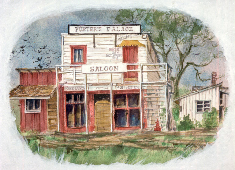 """""""Porter's Palace, Poway"""" 1983 © Eileen Monaghan Whitaker 15x20 inches Watercolor"""