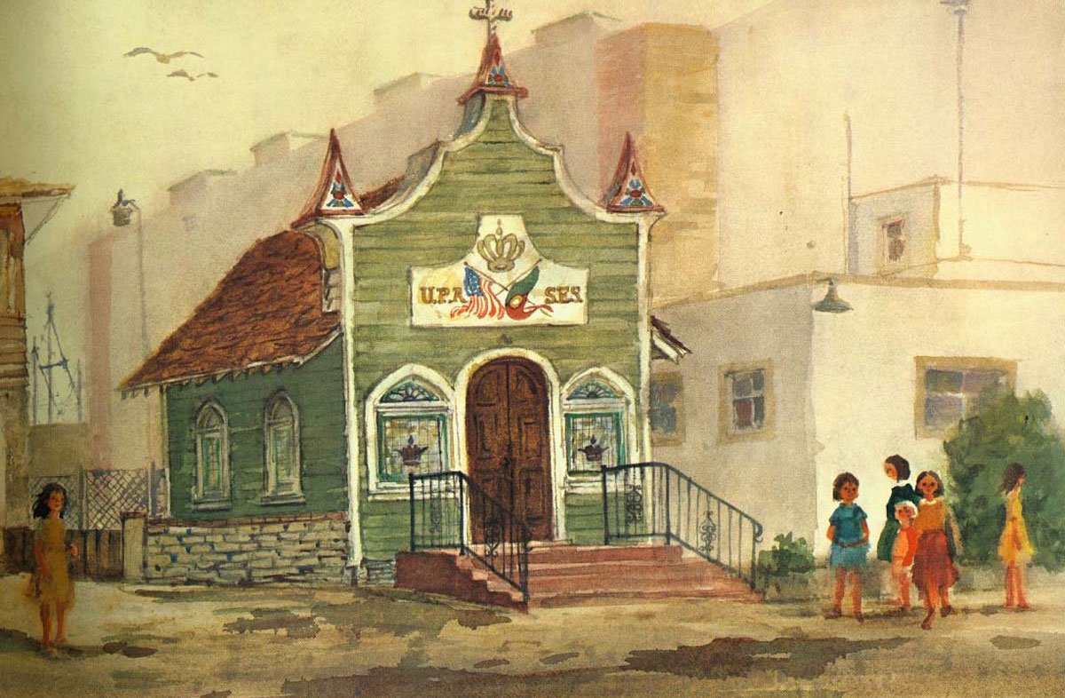"""""""Portuguese Hall, Point Loma"""" 1983 © Eileen Monaghan Whitaker N.A. 14x22 inches Watercolor"""
