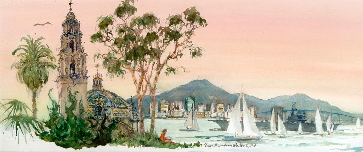 """San Diego"" 1985 © Eileen Monaghan Whitaker N.A. 12.5x30 inches Watercolor"