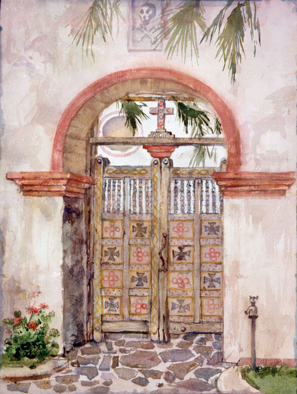 """""""San Luis Rey Mission Door"""" 1983 © Eileen Monaghan Whitaker N.A. 22x16 inches Watercolor"""