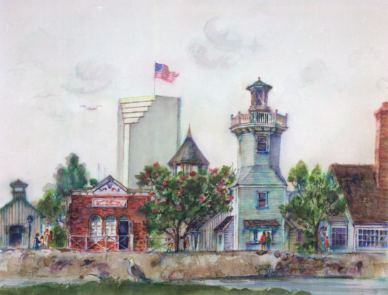 """""""Seaport Village, San Diego"""" 1983 © Eileen Monaghan Whitaker 20x30 inches Colored Pens"""