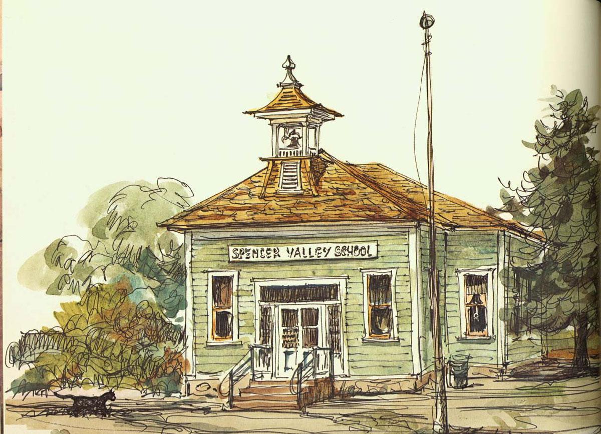 """Spencer School"" © Eileen Monaghan Whitaker Watercolor"