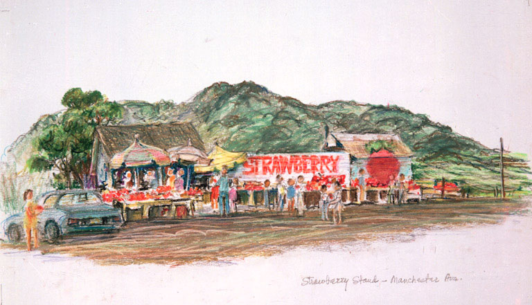 """""""Strawberry Stand - Manchester Ave."""" © Eileen Monaghan Whitaker Watercolor"""