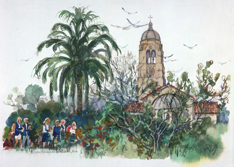 """The Bishop's Schools, La Jolla"" 1983 © Eileen Monaghan Whitaker N.A. 14x20 inches Watercolor"