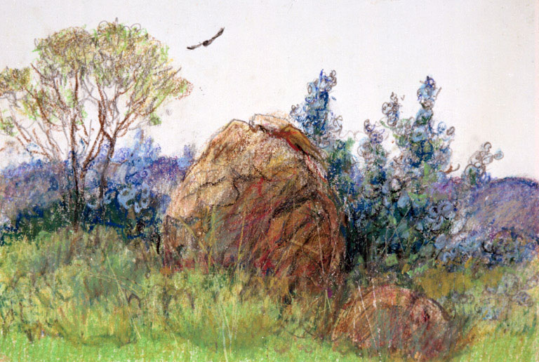 """Borderline at Jacumba"" 1983 © Eileen Monaghan Whitaker 14x22 inches Watercolor"