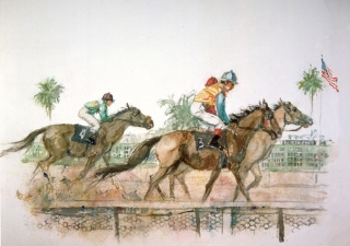 """The Del Mar Races- the Horses"" © Eileen Monaghan Whitaker  N.A. 16x22 inches Watercolor"