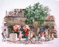 """Avenida Revolucion, Tijuana"" © Eileen Monaghan Whitaker 14x20 inches Watercolor"