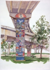 """Chicano Park"" 1993 © Eileen Monaghan Whitaker 20x14 inches Watercolor"