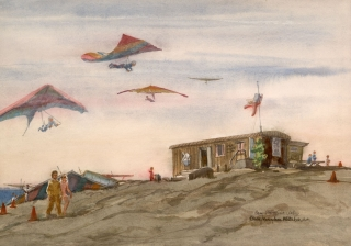 """Hang Gliding La Jolla"" 1983-84 © Eileen Monaghan Whitaker 20x14 inches Watercolor"