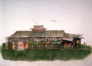 """Farmers Market Building"" © Eileen Monaghan Whitaker Watercolor"