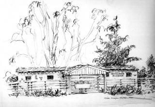 """Kenalbee Stables, Rancho Santa Fe"" © Eileen Monaghan Whitaker N.A. Sketch"