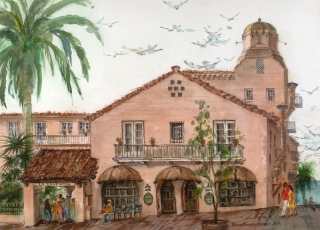 "'La Valencia, La Jolla"" 1983 © Eileen Monaghan Whitaker 20x30 inches Watercolor"