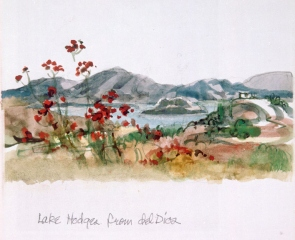 """Lake Hodges"" © Eileen Monaghan Whitaker 6 5/8 x 12 5/8 Watercolor"