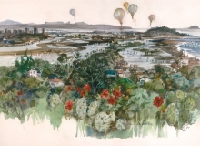 """Mission Bay from La Jolla"" 1982 © Eileen Monaghan Whitaker 20x30 inches Watercolor"