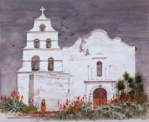 """Mission San Diego de Alcala"" 1984 © Eileen Monaghan Whitaker N.A. 22x27.5 inches Watercolor"