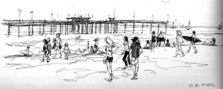 """Ocean Beach Pier"" © Eileen Monaghan Whitaker Drawing"