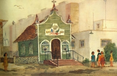 """Portuguese Hall, Point Loma"" 1983 © Eileen Monaghan Whitaker N.A. 14x22 inches Watercolor"