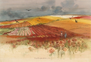 """Ranunculus Fields, Carlsbad"" 1984 © Eileen Monaghan Whitaker 18x30 inches Watercolor"