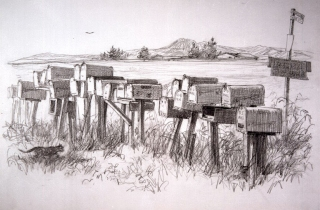 """Rural Route, Ramona"" © Eileen Monaghan Whitaker N.A. Sketch"