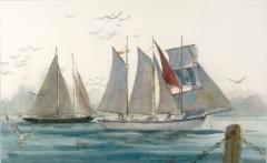 """Sailing San Diego Bay"" © Eileen Monaghan Whitaker N.A. Watercolor"