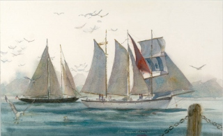 """Sailing San Diego Bay"" © Eileen Monaghan Whitaker N.A. Watercolor"