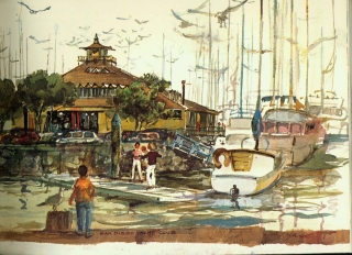 """San Diego Yacht Club"" © Eileen Monaghan Whitaker N.A. 14x20 inches Watercolor"
