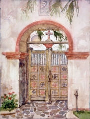 """San Luis Rey Mission Door"" 1983 © Eileen Monaghan Whitaker N.A. 22x16 inches Watercolor"