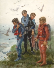 """Scuba Divers, La Jolla"" 1982 © EIleen Monaghan Whitaker N.A. Watercolor"