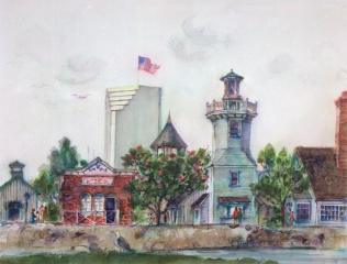 """Seaport Village, San Diego"" 1983 © Eileen Monaghan Whitaker 20x30 inches Colored Pens"