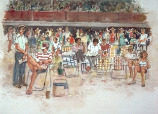 """The Del Mar Races, The Hoi Polloi"" © Eileen Monaghan Whitaker 14x20 inches Watercolor"