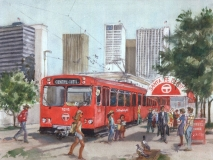 """The San Diego Trolley"" 1983 © Eileen Monaghan Whitaker 16x22 inches Watercolor"