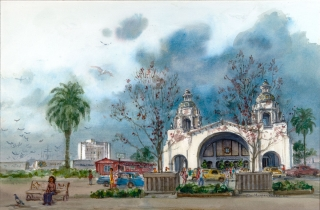 """The Santa Fe Depot"" 1983 © Eileen Monaghan Whitaker 20x30 inches Watercolor"