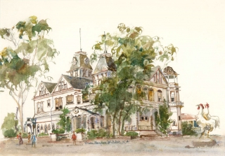"""Twin Inns, Carlsbad"" © Eileen Monaghan Whitaker N.A. Watercolor"