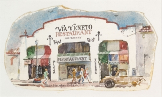 """Via Veneto Restaurant"" © Eileen Monaghan Whitaker (size and date unknown) Watercolor"