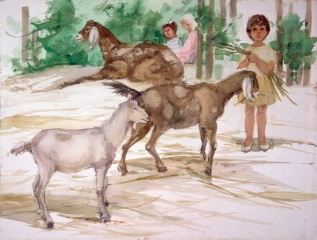 """Children's Zoo"" © 1984 © Eileen Monaghan Whitaker 22x30 inches Watercolor"
