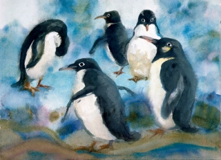 """Penguin Encounter, Sea World, San Diego"" © EiIeen Monaghan Whitaker 14x20 inches Watercolor"