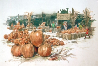 """Pumpkin Time"" 1982 © Eileen Monaghan Whitaker N.A. 16x22 inches Watercolor"