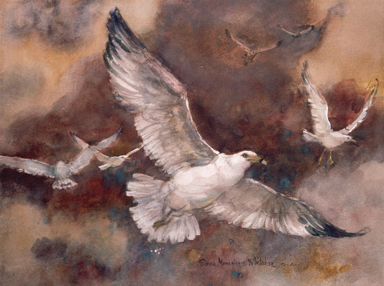 """""""Gulls in the Sunset"""" 1981 © Eileen Monaghan Whitaker N.A. 22x30 inches Watercolor"""