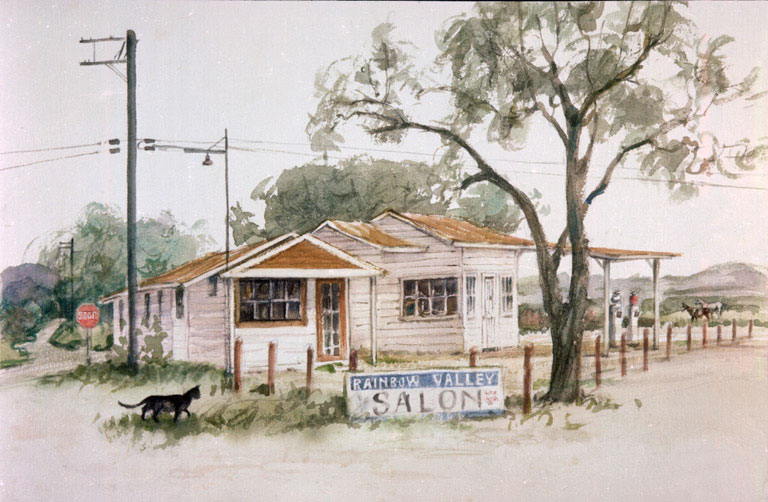 """""""Old Gas Station, Rainbox New Occupants"""" 1984 © Eileen Monaghan Whitaker N.A. 14x22 inches Watercolor"""