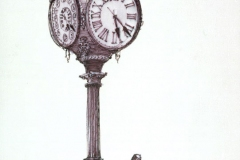 """Jessop's Clock"" 1983 © Eileen Monaghan Whitaker N.A. 20x14 inches Pen and Ink"