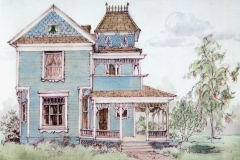 """Victorian House, Pacific Beach"" 1983 © Eileen Monaghan Whitaker 14x22 inches Pen and Ink Drawing with colorwash added"